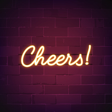 Cheers bar neon teken vector