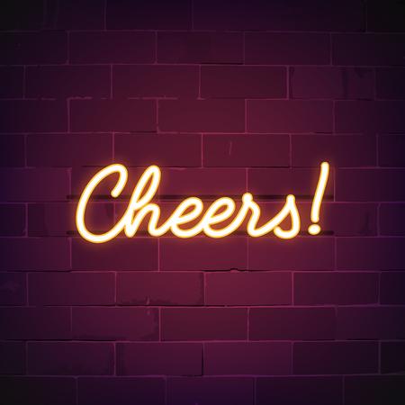 Cheers bar vecteur d'enseigne au néon