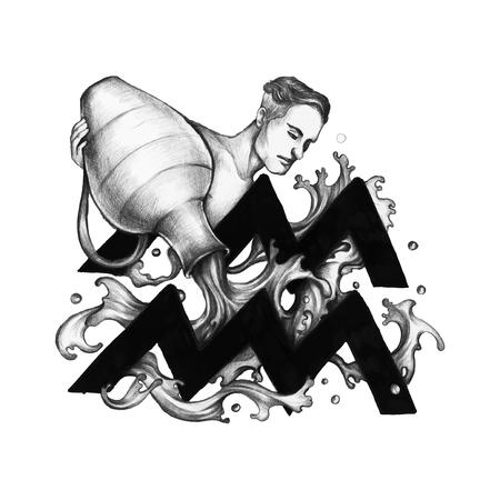 Hand drawn horoscope symbol of Aquarius illustration