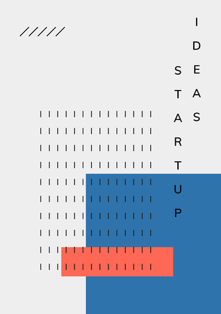 Minimal Memphis design start-up poster vector