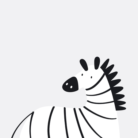 Cute zebra in a cartoon style vector