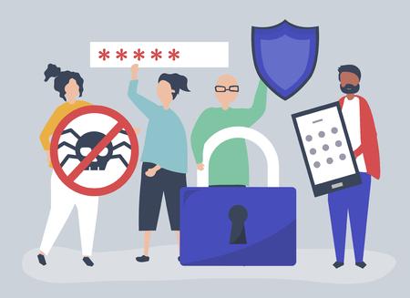 Illustration von Menschen mit Datenschutz- und Sicherheitssymbolen