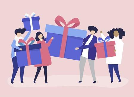Freunde tauschen Geschenkboxen untereinander aus Vektorgrafik