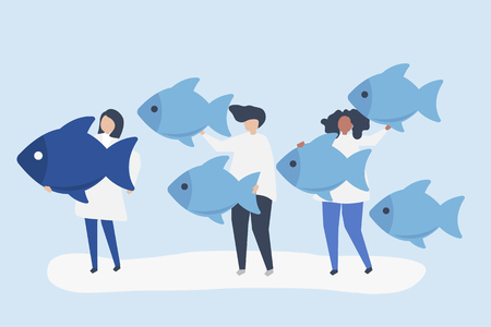 People carrying fish icons in leadership concept