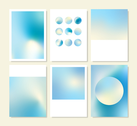 Blue holographic gradient background design set Illusztráció