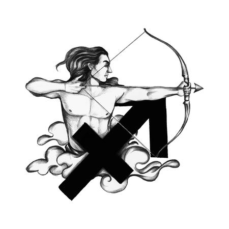 Símbolo del horóscopo dibujado a mano de la ilustración de Sagitario