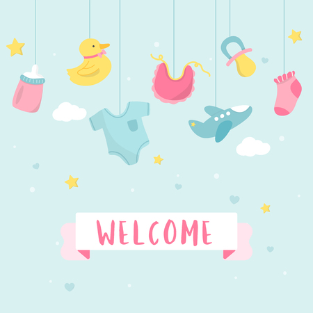 Cute baby nursery decorations with a text welcome vector Illustration