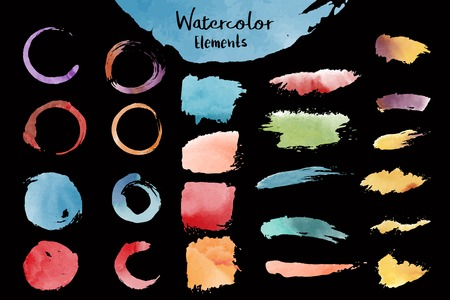 Mixed watercolor elements vector set