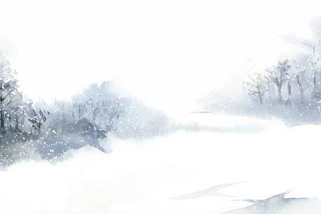 Paysage d'hiver au pays des merveilles peint par vecteur aquarelle Vecteurs