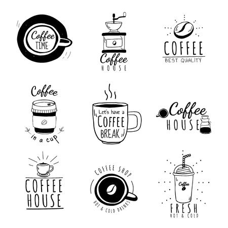 Set van coffeeshop logo's vector