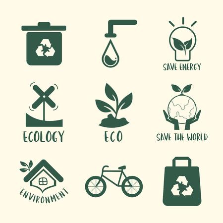 Environmental conservation symbol set illustration Ilustrace