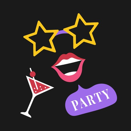 Party photo booth props vector