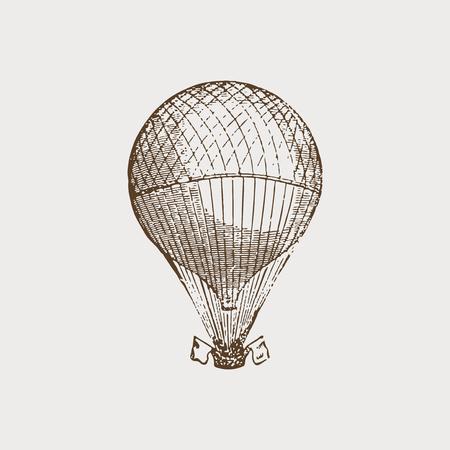 Vintage Heißluftballonillustration