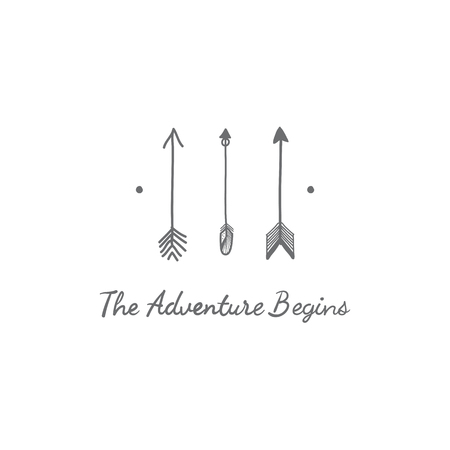 The adventure begins with three arrows travel badge vector Ilustrace