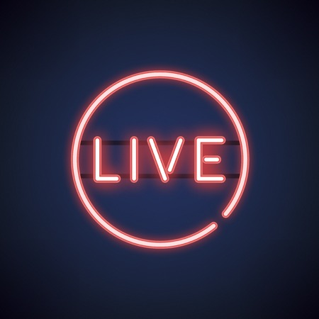 Red live neon sign vector