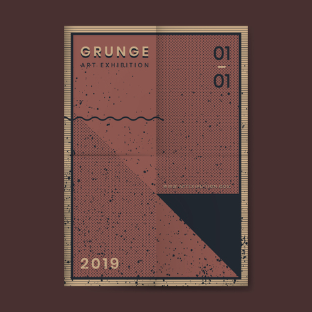 Grunge merlot red distressed textured poster