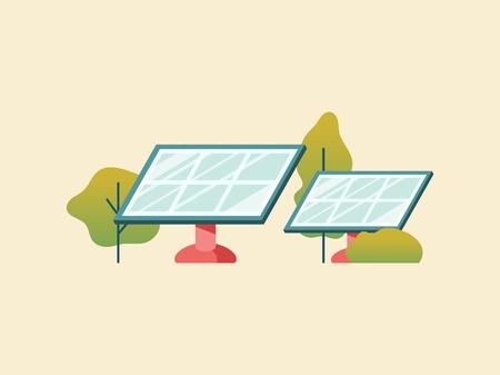 Concetto di risparmio energetico con pannelli solari Vettoriali