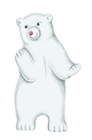 Hand-drawn white polar bear cub