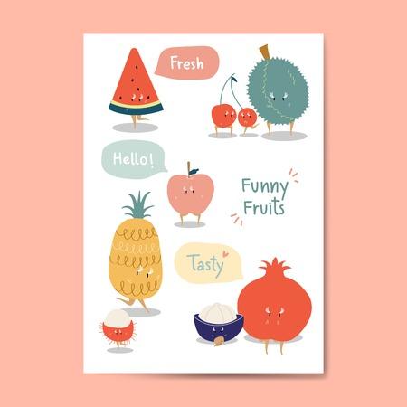 Funny fruit cartoon stickers vector set Vector Illustration