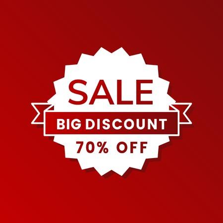 Big sale 70% off shop promotion advertisement badge vector