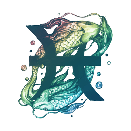 Hand drawn horoscope symbol of Pisces illustration