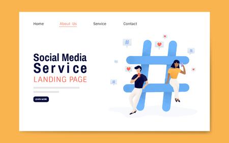 Zielseiten-Layoutvektor für Social Media-Dienste