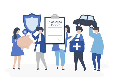 Characters of people holding insurance icons illustration Ilustracja