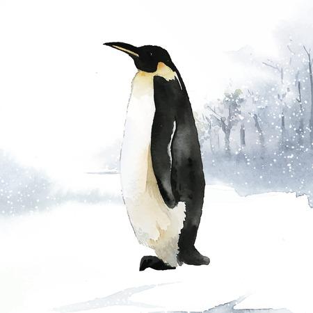 Pingüino emperador en el vector de acuarela de nieve