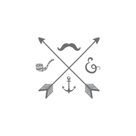 Crossing gray arrows with mustache and pipe badge vector