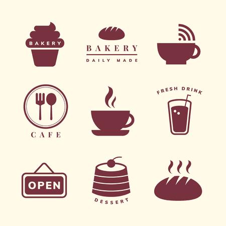 Coffee shop icon vector set
