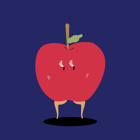 Fresh red apple cartoon character vector