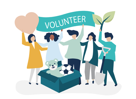 People volunteering and donating money and items  to a charitable cause Stock Illustratie