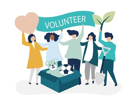 Personnes faisant du bénévolat et donnant de l'argent et des articles à une cause caritative