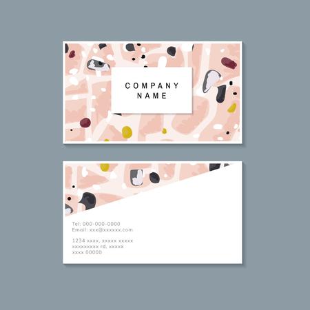 Vector de tarjeta de visita de patrón de terrazo colorido