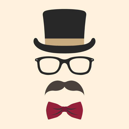 Male photo booth props vector