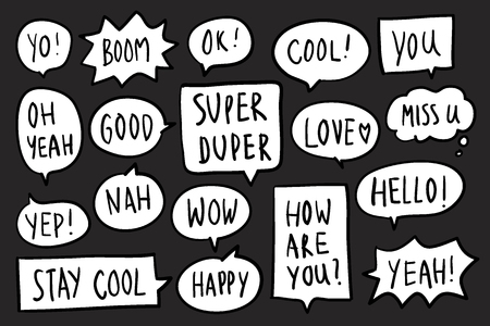 Collection of speech bubbles on black background vector 向量圖像