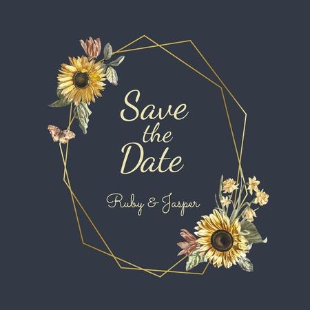 Enregistrez le vecteur de maquette d'invitation de mariage de date