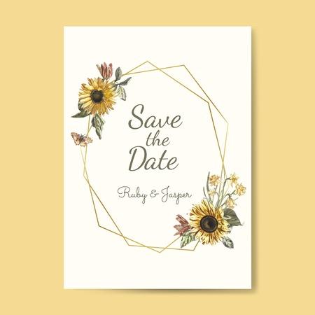Bewaar de datum bruiloft uitnodiging mockup vector
