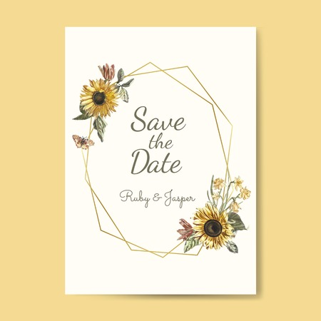 Save the date wedding invitation mockup vector Standard-Bild - 115280422