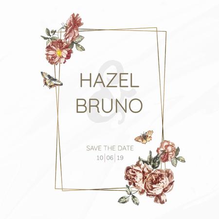 Floral wedding invitation mockup vector Illustration