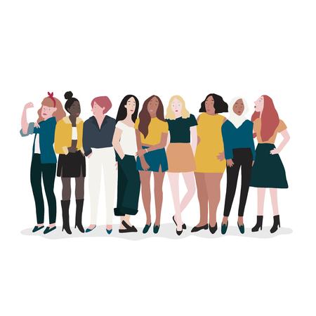 Vector de grupo de mujeres fuertes Ilustración de vector
