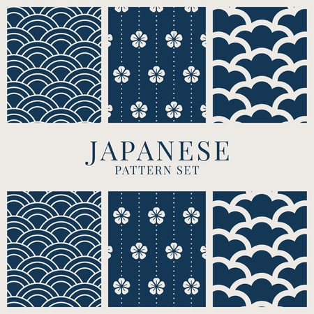 Japanese-inspired pattern vector set  イラスト・ベクター素材
