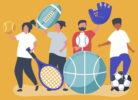 Sportowcy niosący różne ikony sportu