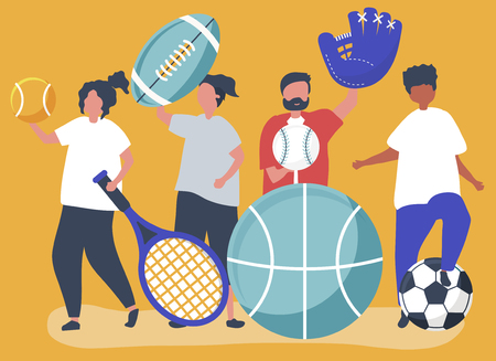 Athletes carrying different sport icons Illustration