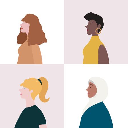 Colección de mujeres en vector de perfil