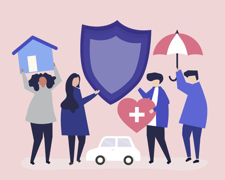 People carrying icons related to insurance