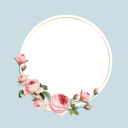 Blank round pink roses frame vector on blue background
