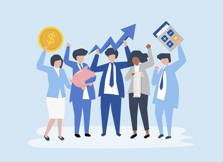 Characters of a business people and performance growth icons Illustration