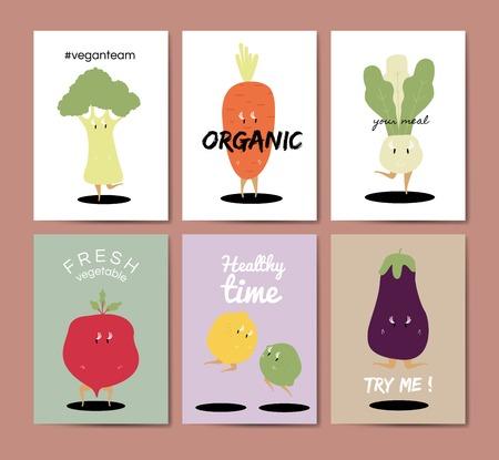 Vegetable cartoons greeting card vector set Vector Illustration