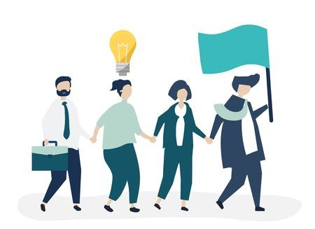Uomini d'affari che seguono il leader per trovare un nuovo mercato